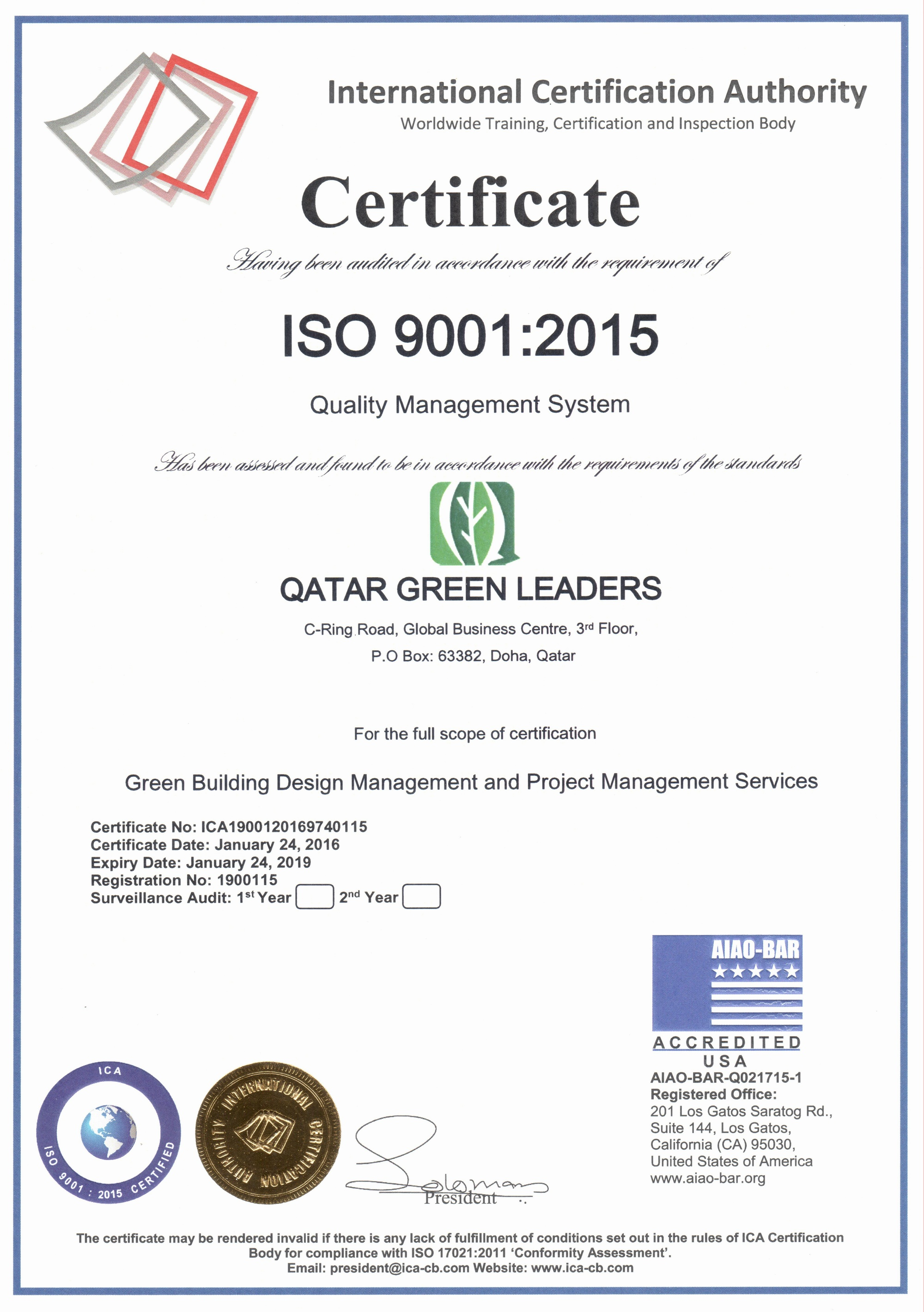 Qatar Green Leaders is an ISO-9001:2015 Certified Company!